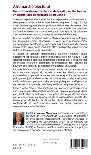 4eme Afromarché électoral. Heuristique des ambivalences des pratiques électorales en République Démocratique du Congo