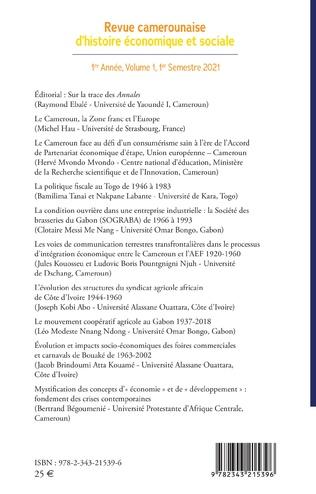 4eme Revue camerounaise d'histoire économique et sociale 1re Année, Volume 1, 1er Semestre 2021