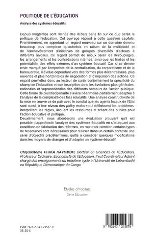 4eme Politique de l'éducation. Analyse des systèmes éducatifs