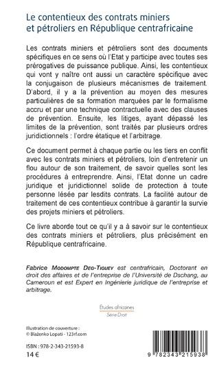 4eme Le contentieux des contrats miniers et pétroliers en République centrafricaine