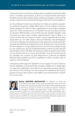 4eme Le droit à un environnement sain en droit européen