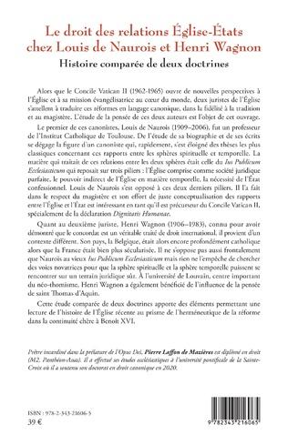 4eme Le droit des relations Eglise-Etats chez Louis de Naurois et Henri Wagnon