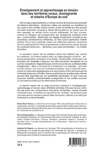4eme Enseignement et apprentissage en tension dans des territoires ruraux, montagnards et urbains d'Europe du sud