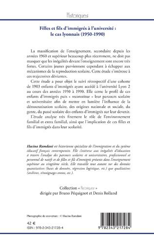 4eme Filles et fils d'immigrés à l'université : le cas lyonnais (1950-1990)