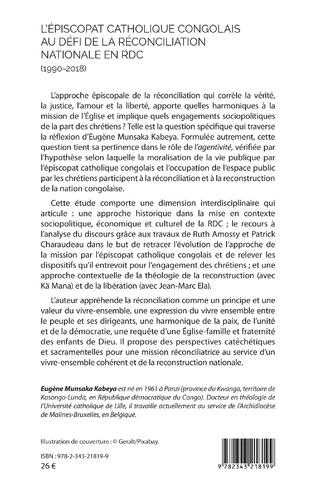 4eme L'épiscopat catholique congolais au défi de la réconciliation nationale en RDC (1990-2018)