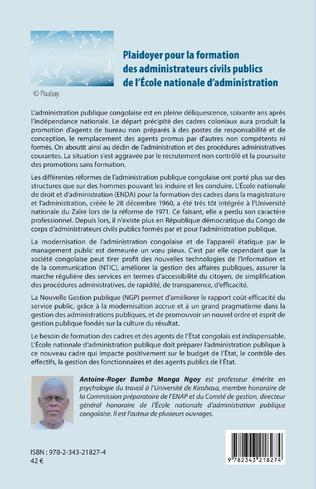 4eme Plaidoyer pour la formation des administrateurs civils publics de l'Ecole nationale d'administration
