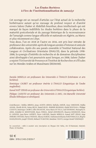 4eme Les Études Berbères à l'ère de l'institutionnalisation de tamaziyt