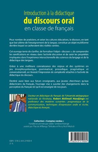 4eme Introduction à la didactique du discours oral en classe de français