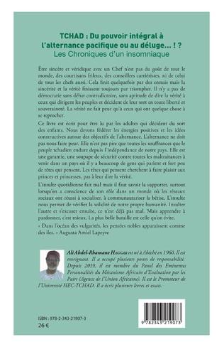 4eme Tchad : du pouvoir intégral à l'alternance pacifique ou au déluge... !?