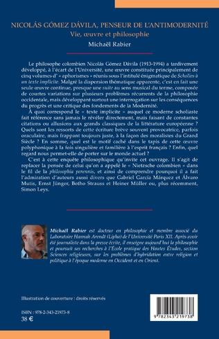 4eme Nicolás Gómez Dávila, penseur de l'antimodernité