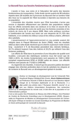 4eme Le Burundi face aux besoins fondamentaux de sa population