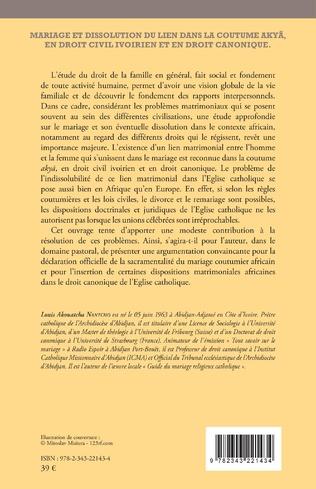 4eme Mariage et dissolution du lien dans la coutume Akyã en droit civil ivoirien et en droit canonique