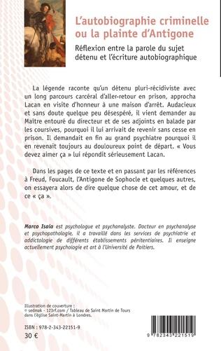 4eme L'autobiographie criminelle ou la plainte d'Antigone