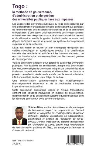 4eme Togo : la méthode de gouvernance, d'administration et de gestion des universités publiques face aux impasses
