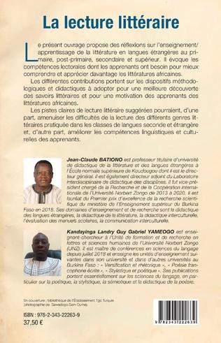4eme La lecture littéraire. Quelles compétences pour une explotation didactique des littératures africaines ?