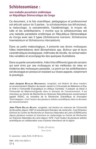 4eme Schistosomiase : une maladie parasitaire endémique en République Démocratique du Congo