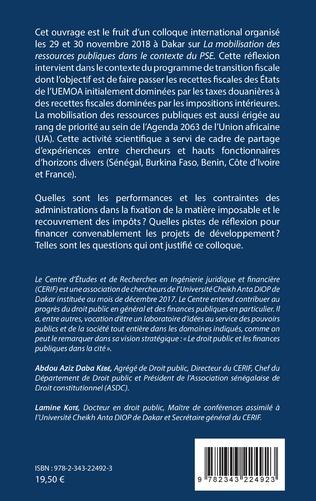 4eme La mobilisation des ressources publiques dans le contexte du plan Sénégal émergent (PSE)