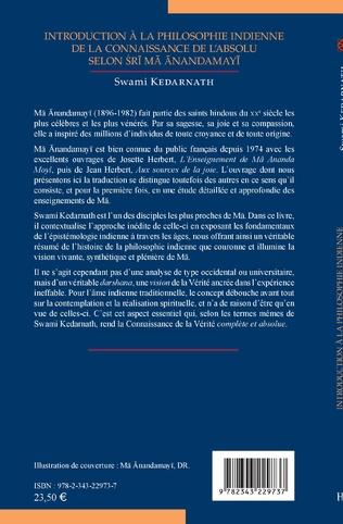4eme Introduction à la philosophie indienne de la connaissance de l'absolu selon Sri Ma Anandamayi