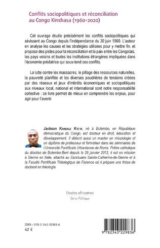 4eme Conflits sociopolitiques et réconciliation au Congo Kinshasa (1960-2020)