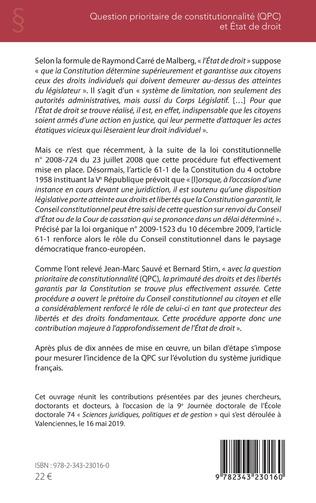 4eme Question prioritaire de constitutionnalité (QPC) et Etat de droit