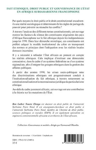 4eme Fait ethnique, droit public et gouvernance de l'État en Afrique Subsaharienne francophone