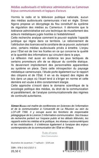 4eme Médias audiovisuels et tolérance administrative au Cameroun