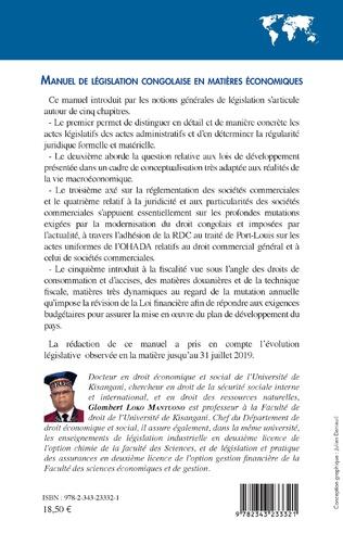 4eme Manuel de législation congolaise en matières économiques