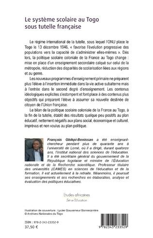 4eme Le système scolaire au Togo sous tutelle française