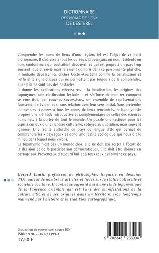 4eme DICTIONNAIRE <em>DES NOMS DE LIEUX</em> DE L'ESTEREL