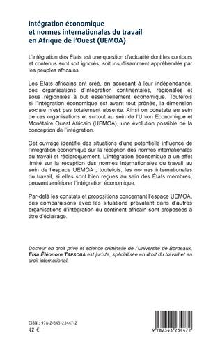 4eme Intégration économique et normes internationales du travail en Afrique de l'Ouest (UEMOA)