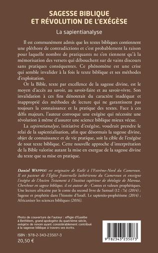4eme Sagesse biblique et révolution de l'exégèse. La sapientianalyse.