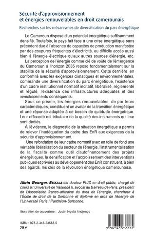 4eme Sécurité d'approvisionnement et énergies renouvelables en droit camerounais