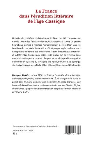 4eme La France dans l'érudition littéraire de l'âge classique