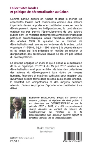 4eme Collectivités locales et politique de décentralisation au Gabon
