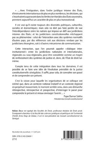 4eme Le conseil constitutionnel sénégalais dans un contexte d'intégration régionale: Passé, Présent, Devenir.