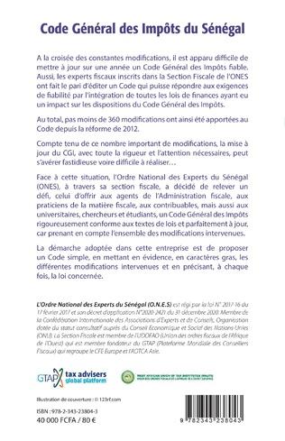4eme Code Général des Impôts du Sénégal. Edition 2021