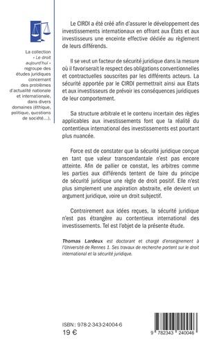 4eme La sécurité juridique et le contentieux international des investissements