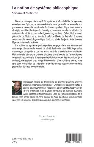 4eme La notion de système philosophique. Spinoza et Nietzsche
