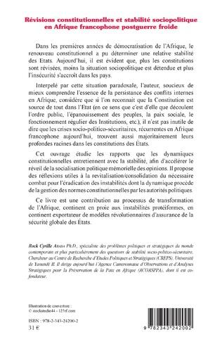 4eme Révisions constitutionnelles et stabilité sociopolitique en Afrique francophone postguerre froide
