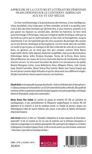 4eme Approche de la culture et littérature féminines francophones sur le continent américain aux XXe et XXIe siècles