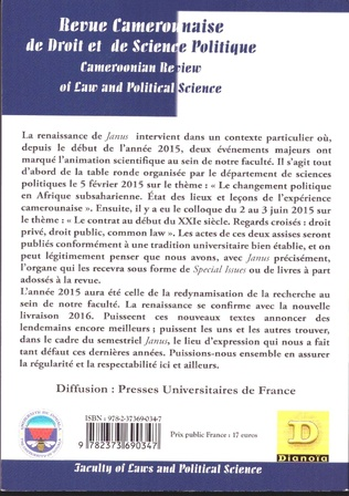 4eme Revue Camerounaise de Droit et Science Politique (Janus 5)
