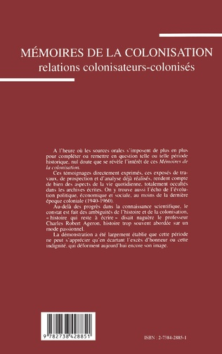 4eme Mémoires de la colonisation. Relations colonisateurs-colonisés