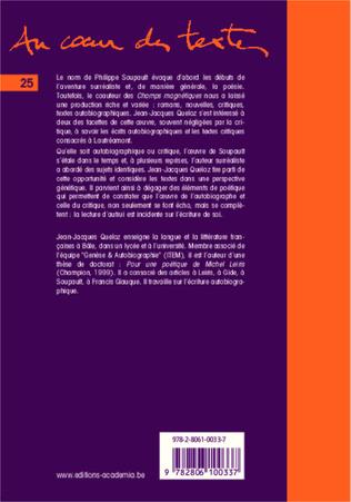 4eme Philippe Soupault: écriture de soi et lecture d'autrui