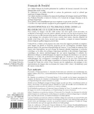 4eme L'implication des langues dans l'élaboration et la publication des recherches scientifiques