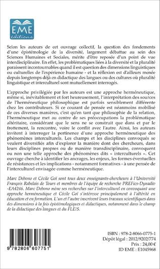 4eme Regards interdisciplinaires sur l'épistémologie du divers