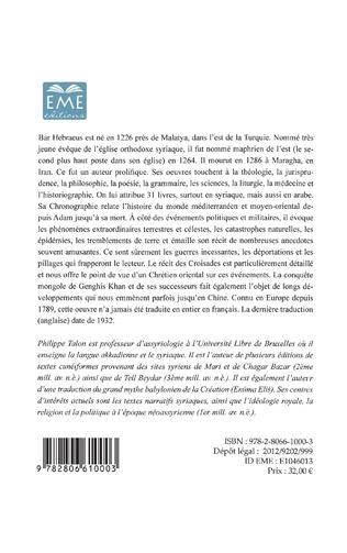 4eme La chronographie de Bar Hebraeus (Volume I)