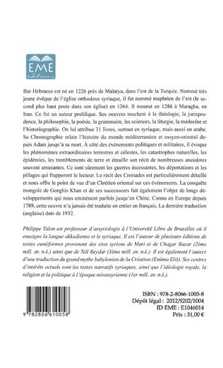 4eme La chronographie de Bar Hebraeus (Volume II)