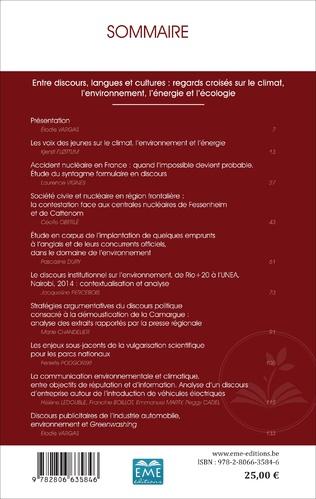 4eme Entre discours, langues et cultures : regards croisés sur le climat, l'environnement, l'énergie et l'écologie