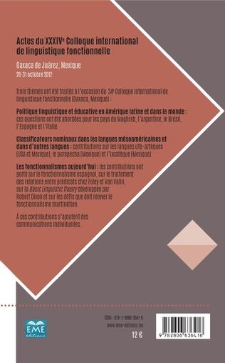 4eme Actes du XXXIVe Colloque international de linguistique fonctionnelle