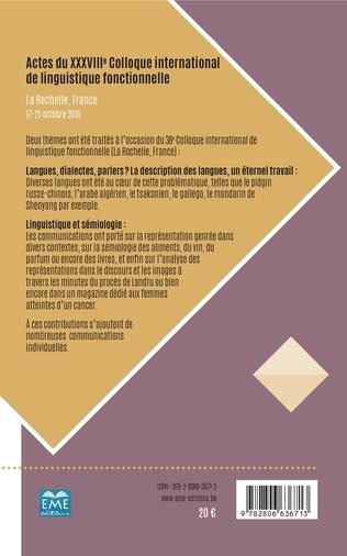 4eme Actes du XXXVIIIe Colloque international de linguistique fonctionnelle